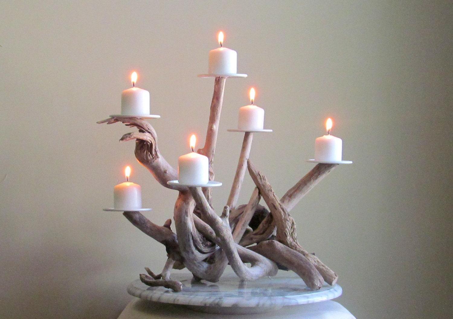 driftwood six candles candelabra wedding centerpiece table. Black Bedroom Furniture Sets. Home Design Ideas