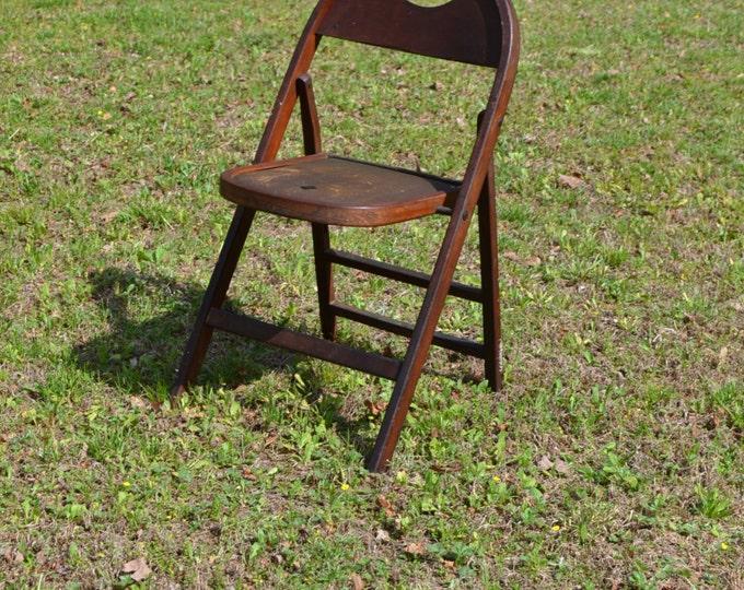 Vintage Antique Wooden Folding Chair Leather Seat Photo Prop Primitive Rustic PanchosPorch