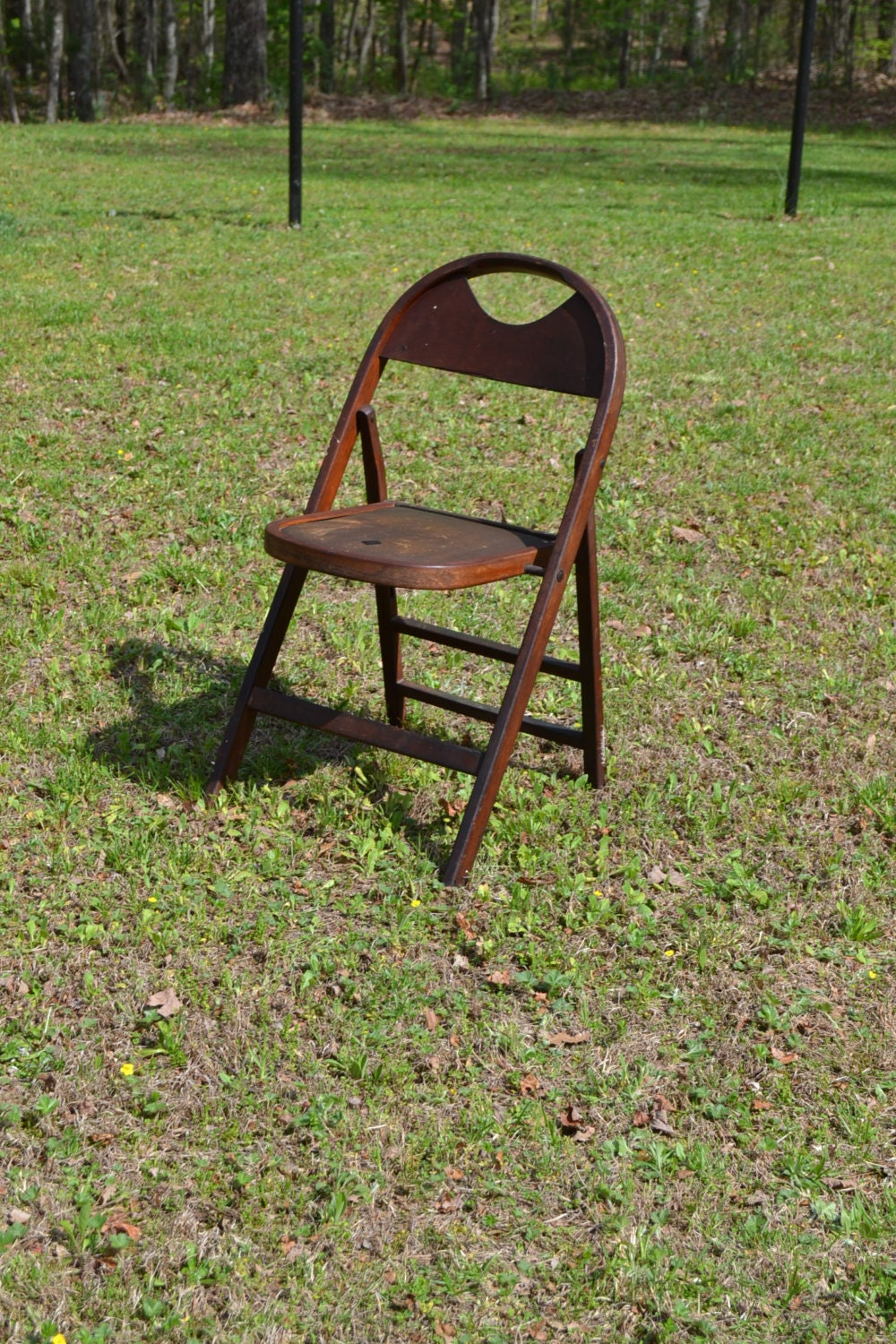 🔎zoom - Vintage Antique Wooden Folding Chair Leather Seat Photo Prop