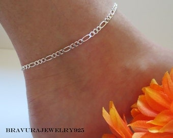 Sterling Silver Figaro Anklet, .925 Sterling Silver, Sturdy Anklet, Strong Anklet, Woman's Ankle Bracelet, Summer Jewelry, 9 inch, 10 inch