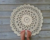 Doily Rug, Shabby Chic, French Country Lace Round Rug, Home Decor Accent Rug, Cottage, Lake House,  nursery