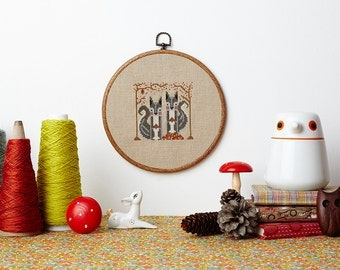 Secret Squirrels modern cross stitch pattern PDF download - includes chart and instructions