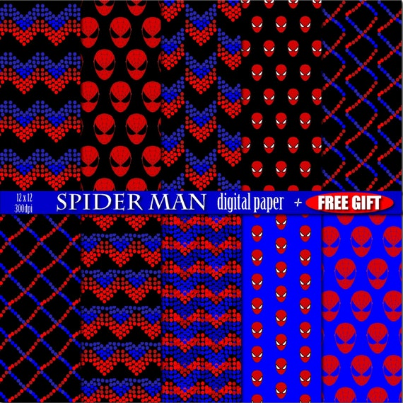 Digital paper Spiderman birthday party decorations print digital vector graphics scrapbooking background Spider Man color geometric art deco