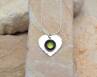 Heart Pendant , Heart Necklace , Friendship gift  , Valentines day gift , Green Tourmaline pendant , Gift of Love