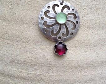 Gemstone Pendant , Sterling silver Stone Pendant , Garnet pendant ,  Aqua Marine pendant  , Handmade silver pendant