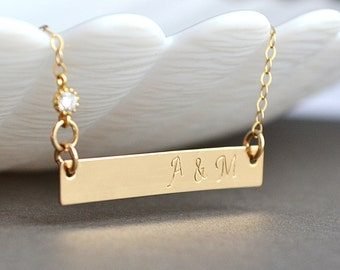 Personalized Gold Bar necklace, Initial Bar Necklace, Horizontal Bar Necklace, Gold Monogram Bar Necklace