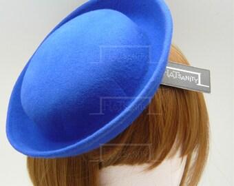 TRENDY Fashion Plain Wool Felt Mini Bowler Hat Fascinator - Blue
