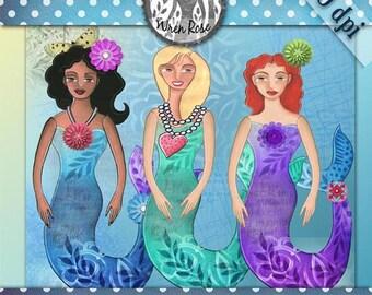 Mermaid digital clip art paper dolls