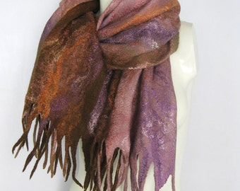 Felted Scarf,  Felted Shawl, Cobweb Scarf, Wool Scarf, Brown Pink Purple Scarf, Felted Wrap, Wool Shawl, Hand Felted Scarf, Gift For her