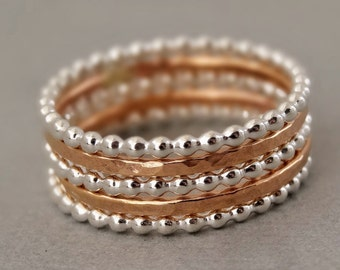 2 Rose Gold Rings and 3 Sterling Silver Bead Rings mixed metal unique Stacking Rings hammered stackable rings
