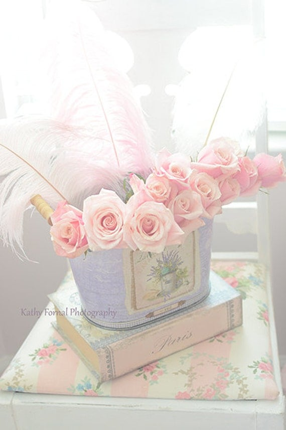 Shabby chic decor pink roses print pink roses by kathyfornal - Wandbilder shabby chic ...