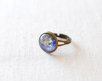Planet Earth Ring. World Ring. Solar System Ring. Space Ring. Universe Ring. Adjustable Glass Dome Ring.