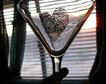 3D Fingerprint Martini Glass Set (2) Black Fingerprint Hearts