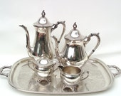 Vintage Coffee Set Serving Tray Retro Creamer Sugar Bowl Silver Plate Tea Set Raimond Silverplate Tea Service  6 Piece Set