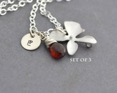 Discounted of Set 3 Personalized Orchid Necklace Sterling Silver Chain, Red Garnet, Monogrammed Gift, Wedding Jewelry