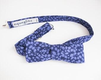 Deep Indigo / Lilic floral slim cotton bow tie