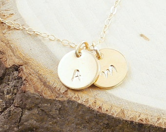Personalized necklace - two initial necklace 14k gold filled jewelry custom made monogram pendant, gold engraved necklace