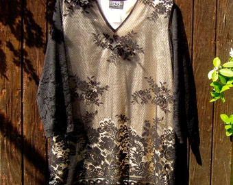 Black Lace Evening Top Blouse More Jazz A Chorus Line Company Plus Size 20