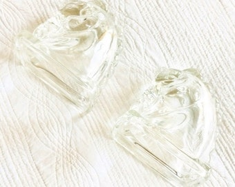Vintage Elegant Glass Horsehead Bookends, Set of Two, Shabby Chic, Olives and Doves