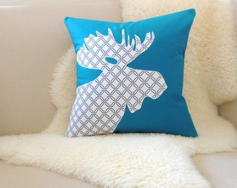 Modern Moose Pillow : Moose Pillow Cover - Custom Colors - Modern Dark Teal - White & Charcoal Geometric Applique ...