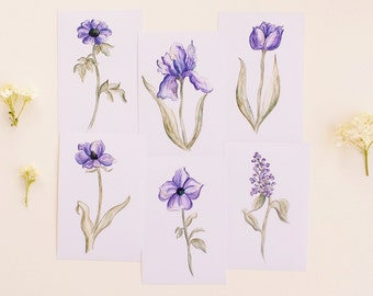 Set of 6 Botanical Purple Flower Prints Watercolor