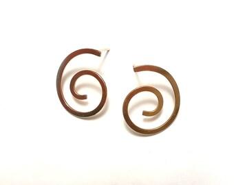 Minimalist Earrings - Spiral Gold Stud Earrings - Gold Post  Earrings - Goldfilled Earrings - Simple Gold Stud Earrings - Romantic Jewelry