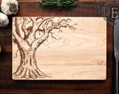 Personalized Cutting Board, Custom Engraved Wood Wedding Gift, Oak Tree w/ Carved Heart & Initials, Wood Anniversary Gift, Kitchen Art