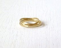 Forever. Simple Hammered Brass Gold Sterling Silver Copper Interlocking Ring. Modern dianty slim four band rolling ring / everyday ring
