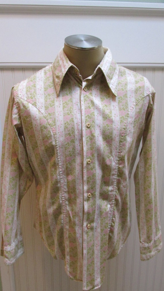 1970's / Mike Weber / Styled in Rome / Men's Hippie Green Floral Body Shirt Designed by Mike Weber Size L XjjJDX