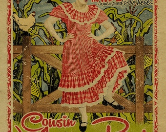 Minnie Pearl Poster. Grand Ole Opry. 12x18. Country Music. Grinders Switch. Hee Haw. Nashville. TN. Art. TV Comedy. Sarah Colley Cannon.