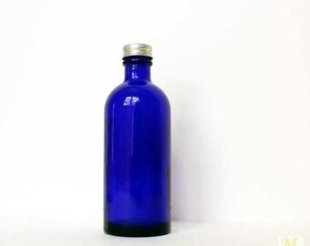 Vintage Glass Bottle, Bathroom Decor, blue bottle, Cobalt Blue, Glass Decor