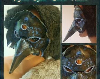 Three-Eyed Crow Leather Mask with Orange Tiger's Eye Cabochon