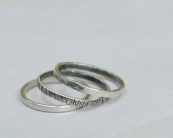 3 Sterling Silver Stacking Ring Bands  - Handcrafted - Various Sizes IN STOCK -