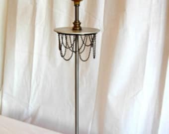 Brush Metal Table Lamp with Beaded Chain