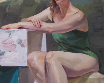 """Sale! Art painting portrait art """"Tahni in Green"""" Original oil painting by Sarah Sedwick 18x14inches"""