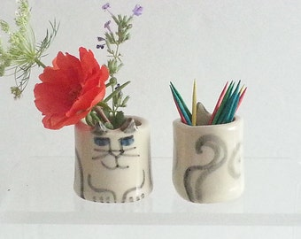 Miniature ceramic Cat Vase or Toothpick holder sake shot glass match stick holder whimsical designer pottery