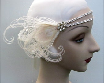 eloise in ivory - flapper headband with double rhinestone band, vintage rhinestone button and ivory peacock feathers