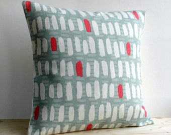 Geometric Cushion Cove, Modern Pillow Cover, Red and Blue Pillow Sham, Linen Cotton Pillows - Brushstrokes Red