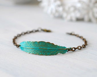 Feather Bracelet Patina Verdigris Blue Brass Feather Boho Chic Bohemian Bracelet Feather Jewelry Gift for her mothers day gift