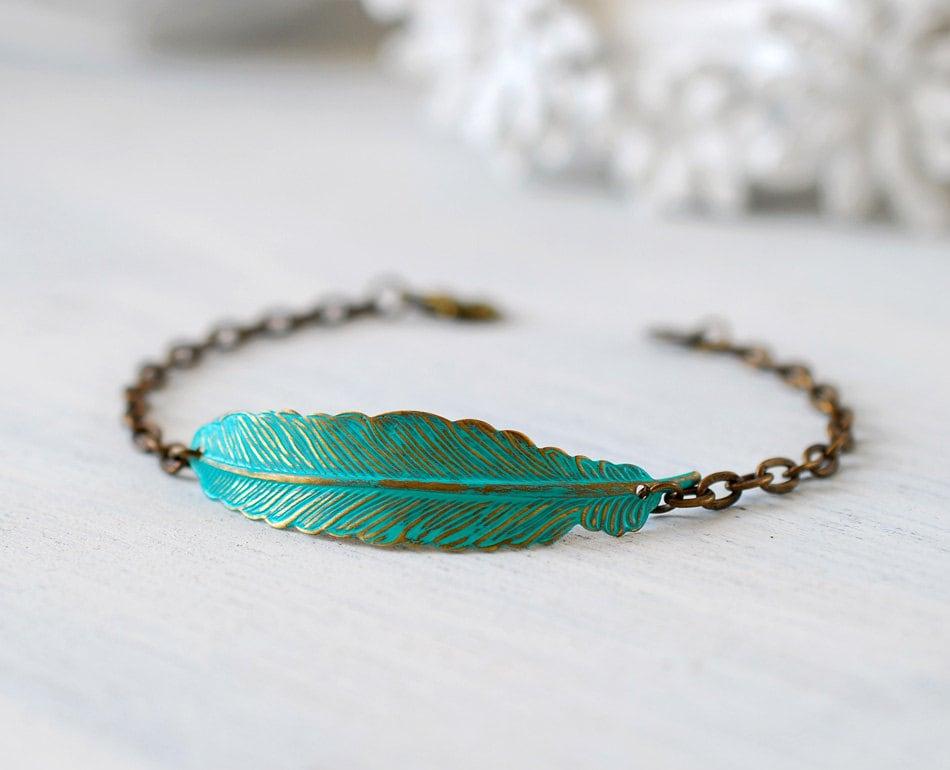 feather bracelet verdigris blue brass feather boho chic