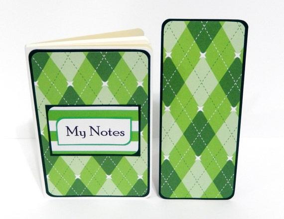 Green Argyle: Mini Moleskine Journal with Matching Bookmark