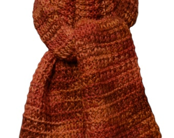 Hand Knit Scarf - Pumpkin Paint Alpaca Fence Row Rib