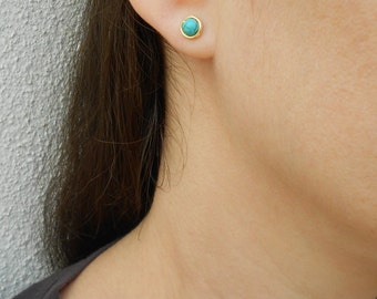Turquoise stud earrings, Turquoise post earrings, December birthstone