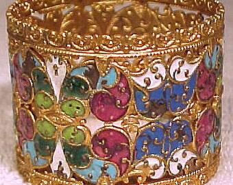 Antique Austro-Hungarian Gilt and Enamel Napkin Ring c1880-1900