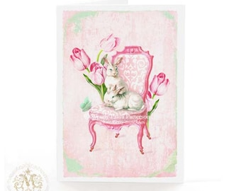 Rabbit card, Easter card, Easter bunny, bunny rabbit card, pink, baby girl card, Regency chair, tulip, butterfly, white rabbit, mint green