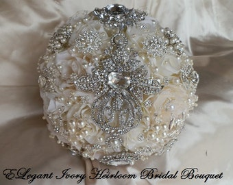 PETAL BROOCH BOUQUET, Ivory and Silver Brooch Bouquet, Custom Made Wedding Bouquet with Silver Brooches, Brooch Bouquet, Deposit Only