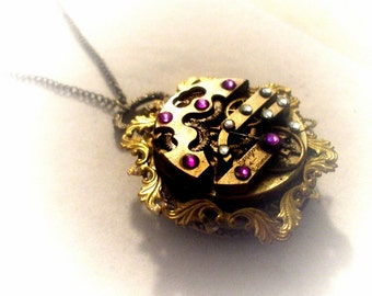 Steampunk Pocket Watch Necklace, unique gift for her, Amethyst