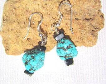 Turquoise Nugget and Black Stone Earrings  ID 313