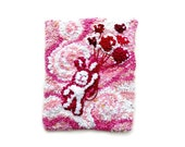 "Hooked Rug Tapestry Wall  Hanging, Rug Hooking, Children's gift, Baby gift, ""Bunny Hearts"""