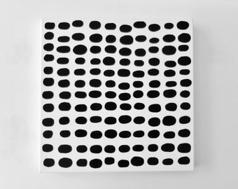 SkiPPiNG StONeS - 20 x 20 inch Canvas - Canvas Art Large Black and White Abstract Painting Fine Art Polka Dot Painting Original LYNDA BLACK
